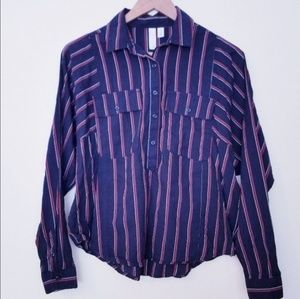 BP Vertical Striped Half Button Up Shirt